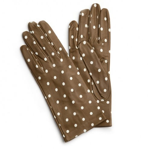 Leather Gloves Camel Dots