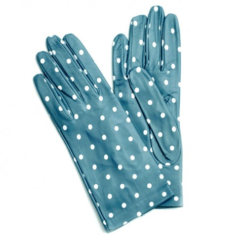Leather Gloves Peacock Dots