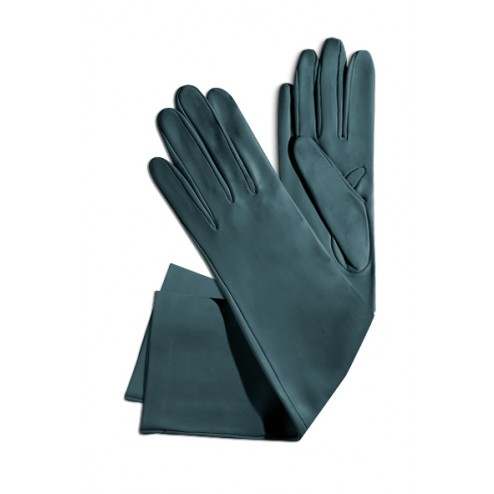 Leather Gloves in Teal Blue