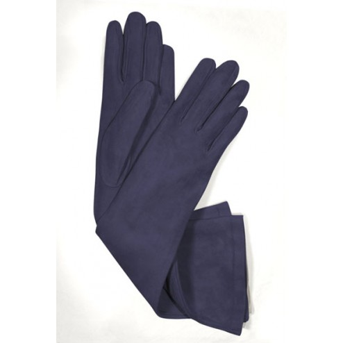 Suede Gloves in Navy Blue