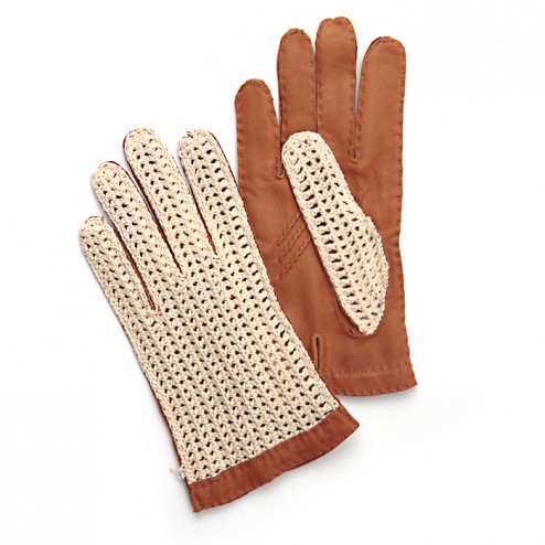 Leather and Crochet Glove