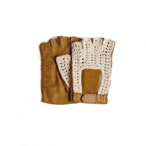 Leather and Crochet Fingerless Glove