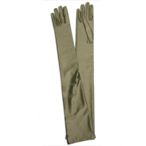 Satin Gloves in Dry Green