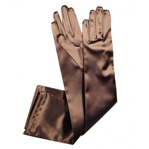 Special Satin Gloves in Brown