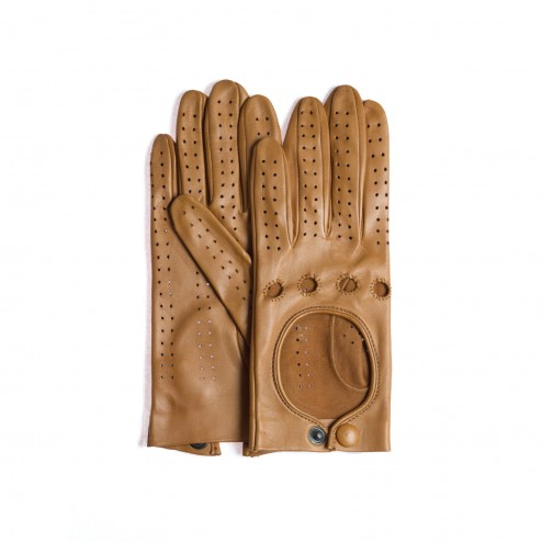 Leather Driving Gloves in Camel