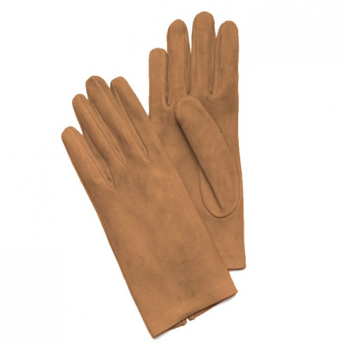 Suede Gloves in Camel