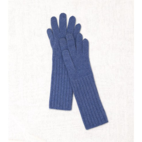 Wool Cashmere Gloves in Blue