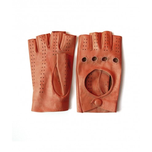 Leather Fingerless Glove in Orange