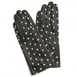 Leather Gloves Black Dots