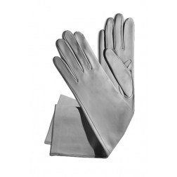 Leathe Gloves in Light Grey