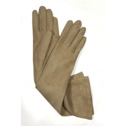 Suede Gloves in Beige