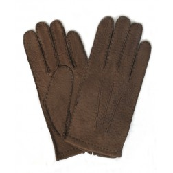 Peccary Leather Gloves Brown Hazelnut