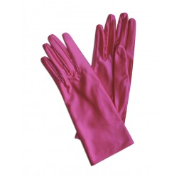 Satin Gloves in Fuchsia