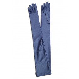 Satin Gloves in Blue Jeans