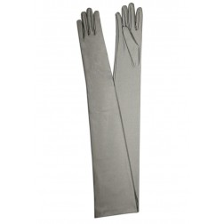 Satin Gloves in Light Grey