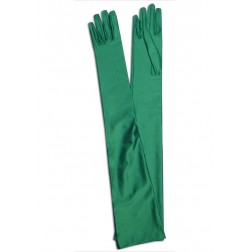 Satin Gloves in Green
