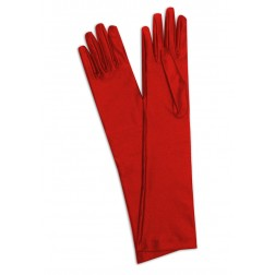Satin gloves in Red