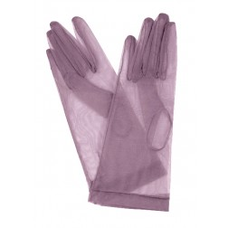 Tulle Gloves in Soft Aubergine