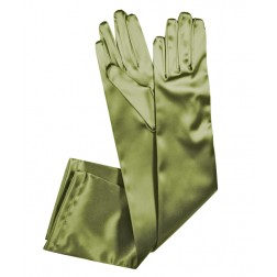 Special Satin Gloves in Dry Green