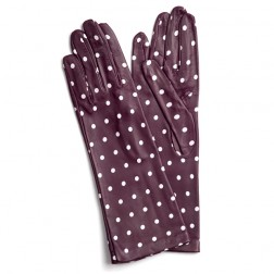 Leather Gloves Bordeaux Dots