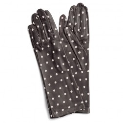 Leather Gloves Brown Dots