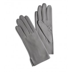 Leather Gloves in Light Grey
