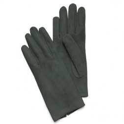 Suede Gloves in Dark Green