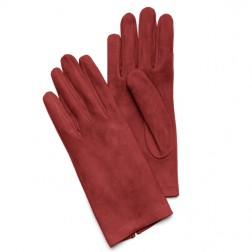 Suede Gloves in Red