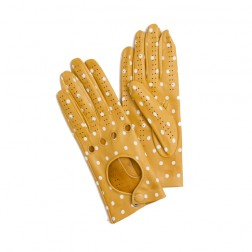 Leather Driving Gloves Dots Yellow