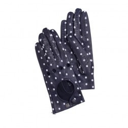 Leather Driving Gloves Dots Navy
