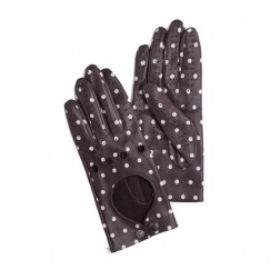 Leather Driving Gloves Dots Brown
