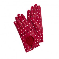 Leather Driving Gloves Dots Red
