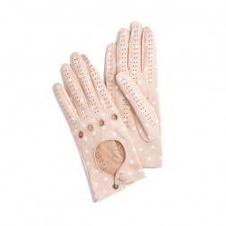 Leather Driving Gloves Dots Pink