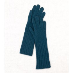 Wool Cashmere Gloves in Petrol Blue