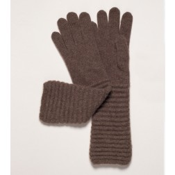 Wool Cashmere Gloves in Brown