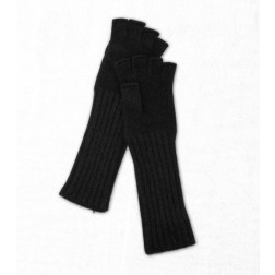 Wool Fingerless Gloves in Black