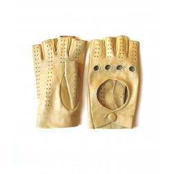 Leather Fingerless Glove in Yellow