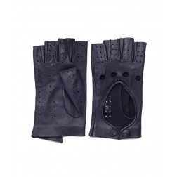 Leather Fingerless Gloves in Navy