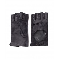 Leather Fingerless Gloves in Black
