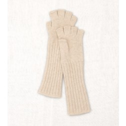 Wool Fingerless Gloves in Light Beige