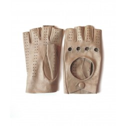 Leather Fingerless Glove in Beige