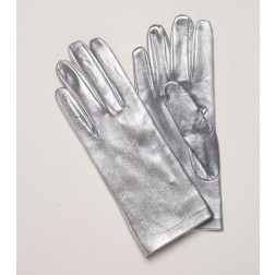 Leather Gloves Silver